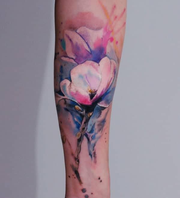 Watercolor Flower Tattoo   Self Tattoo